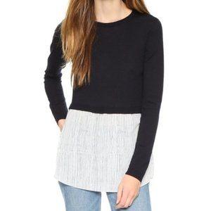 Club Monaco Black Wool Striped Azadeh Sweater Lg